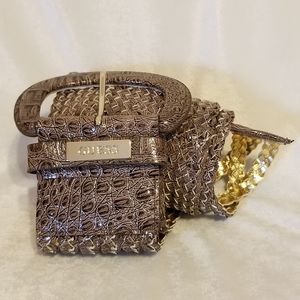 Guess Brown Woven Belt with Gold Accents Sz Large